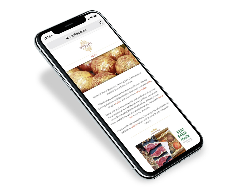 Xocolate website design - mobile